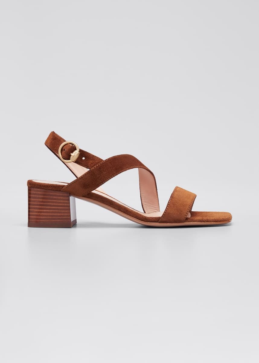 Gianvito Rossi 45mm Asymmetrical Suede Sandals