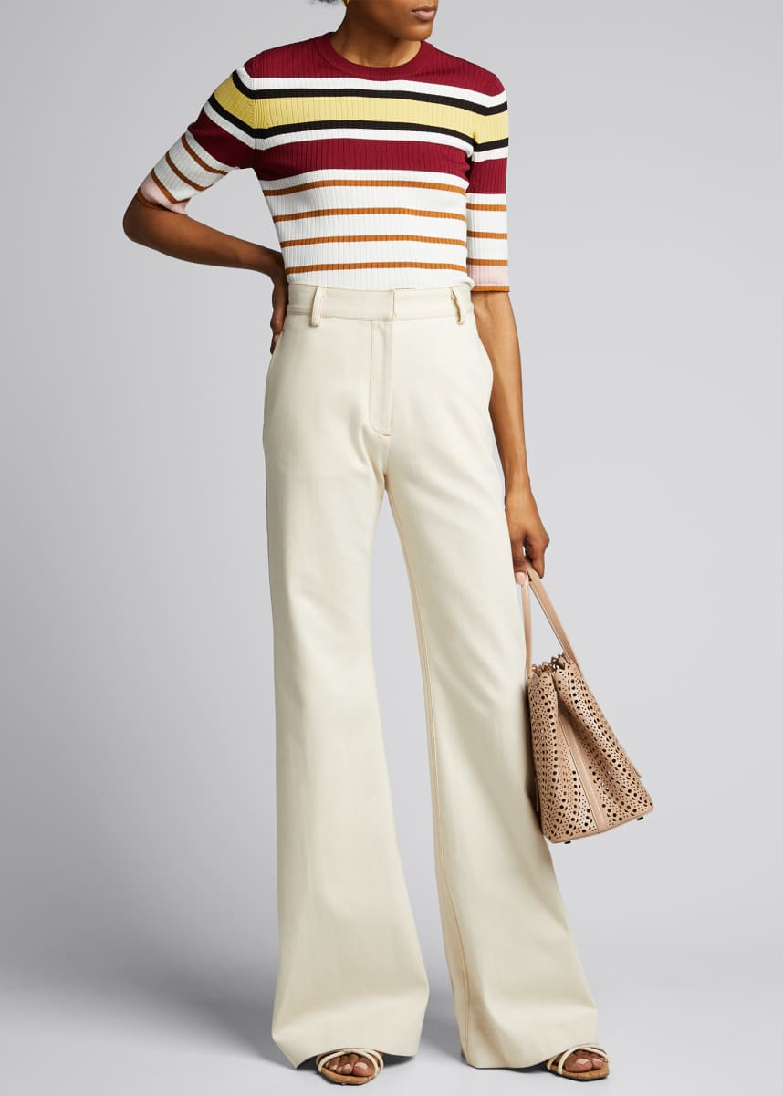 Rosetta Getty Striped Ribbed Crop-Sleeve Sweater