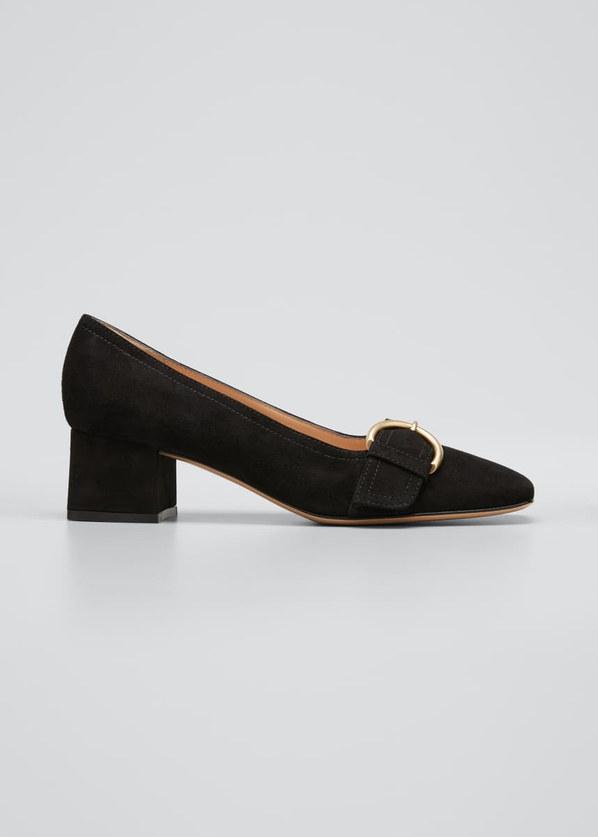 Gianvito Rossi 45mm Suede Buckle Loafer Pumps
