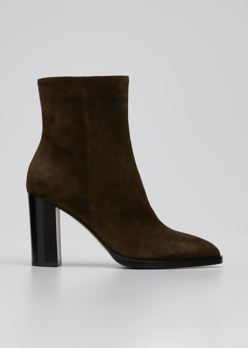 Gianvito Rossi 85mm Point-Toe Suede Double-Sole Booties