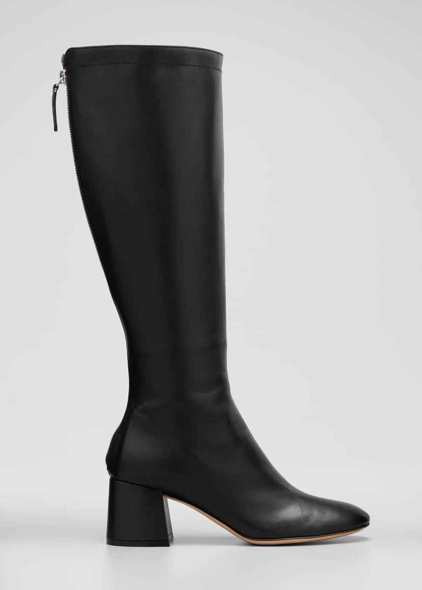 Gianvito Rossi Glove Leather Tall Back-Zip Boots