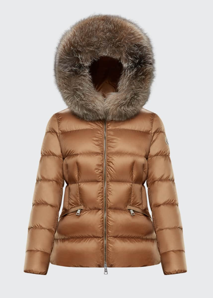 Moncler Boed Slim Fur-Trim Hooded Puffer Jacket
