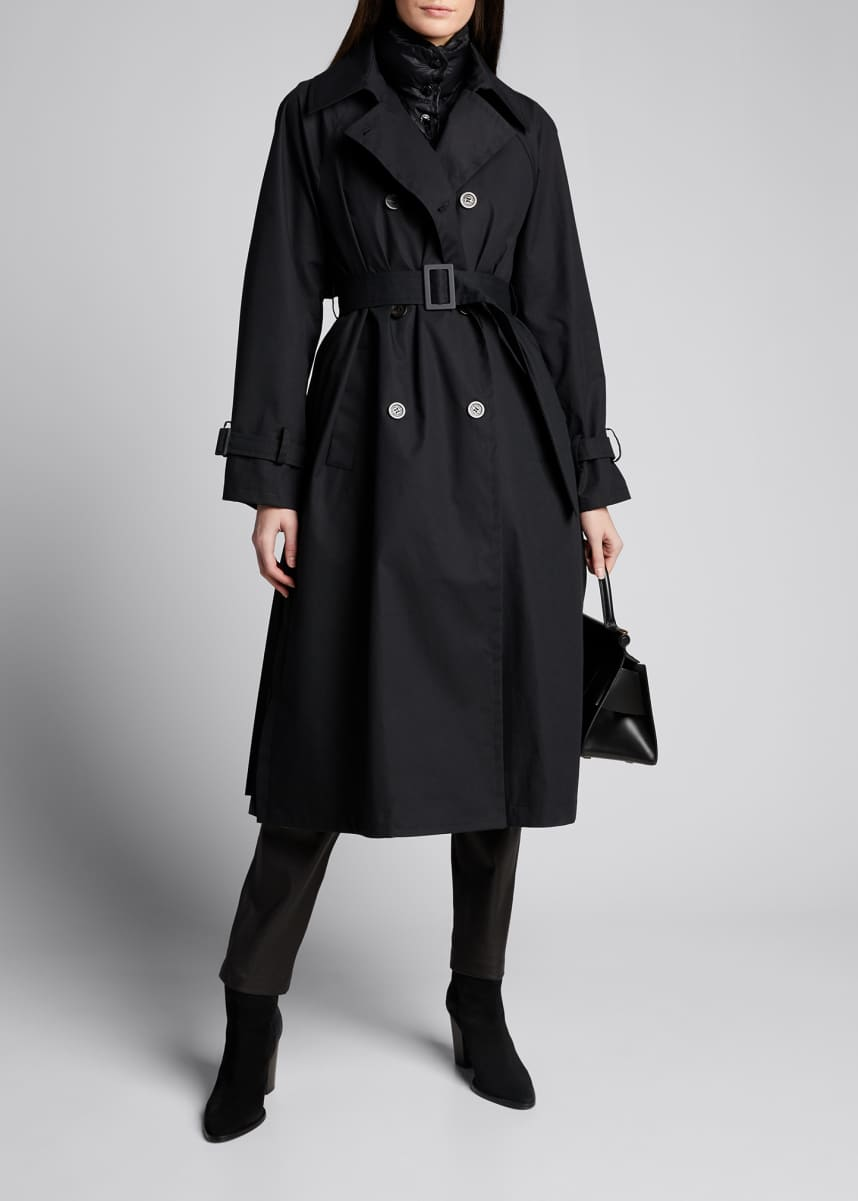 Moncler 3-in-1 Trench with Removable Vest and Pleated Back