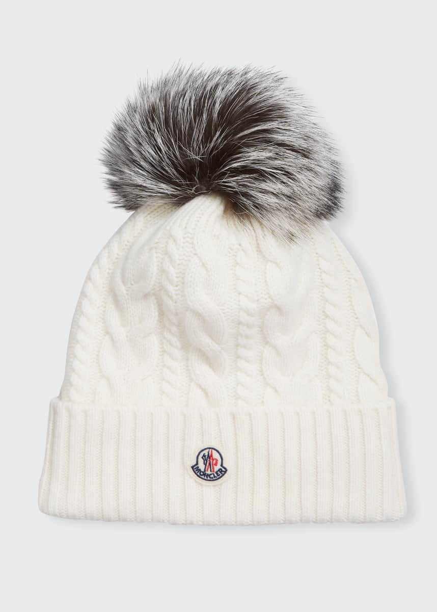 Moncler Cable-Knit Beanie w/ Fur Pom