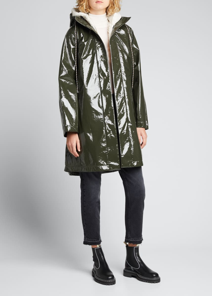 Moncler Pott Shiny Long 3-In-1 Rain Jacket w/ Removable Vest