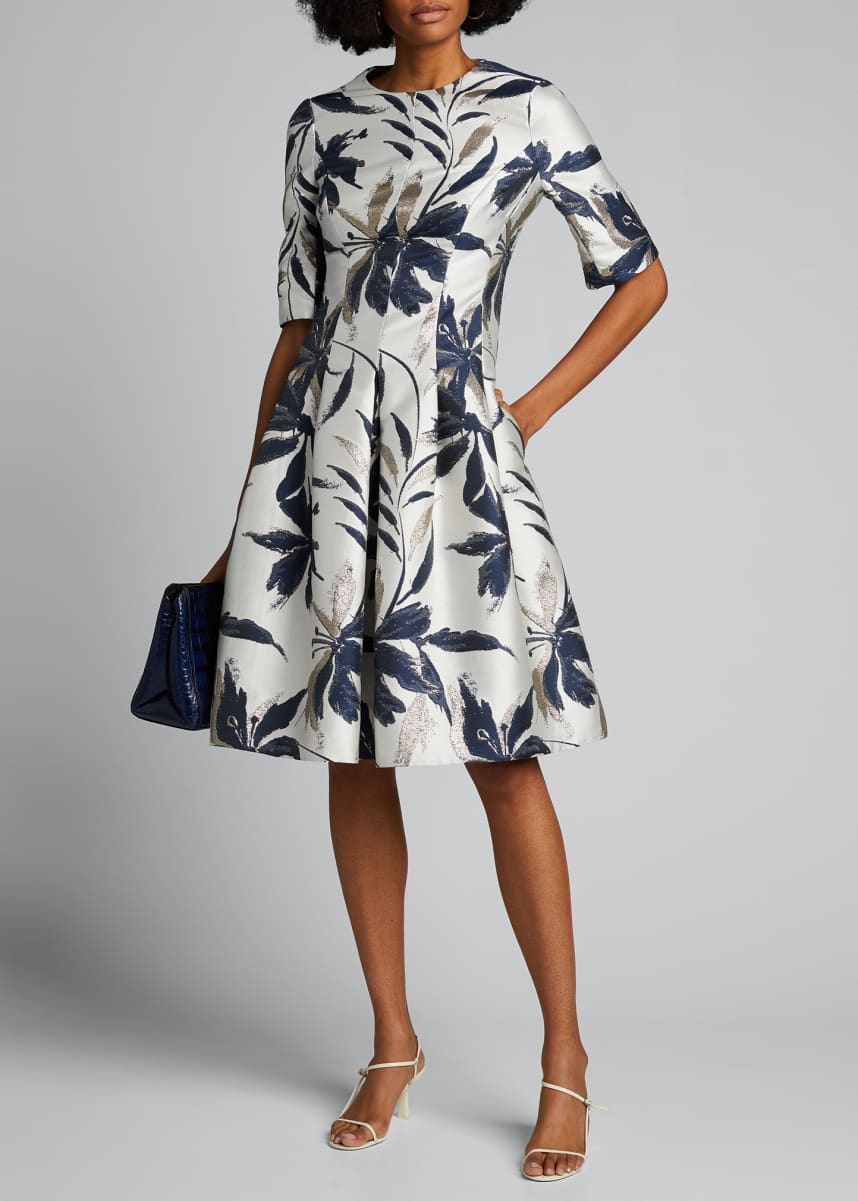 Rickie Freeman for Teri Jon Leaf-Print Jacquard Cocktail Dress