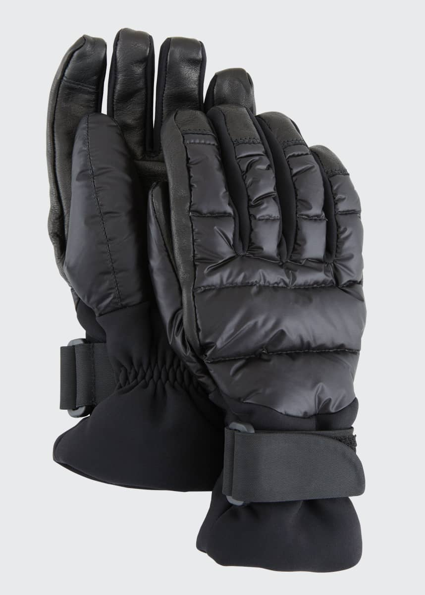 Moncler Grenoble Leather Down-Fill Gloves