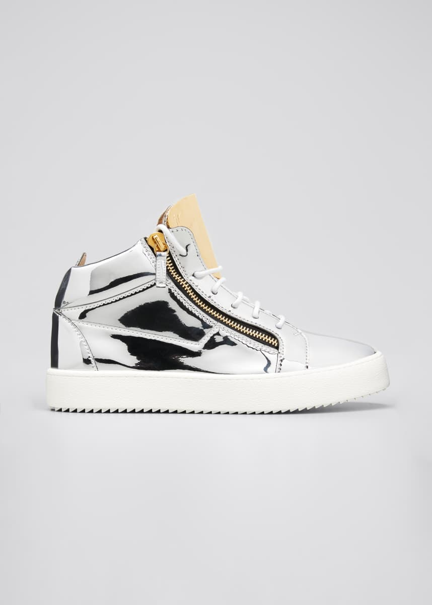 Giuseppe Zanotti Men's Metallic Double-Zip Mid-Top Sneakers