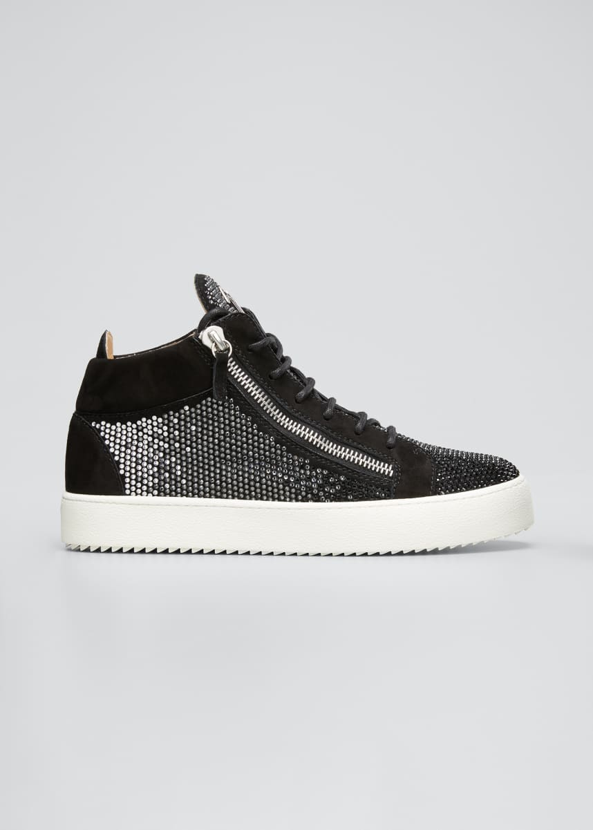 Giuseppe Zanotti Men's Embellished Double-Zip Mid-Top Sneakers