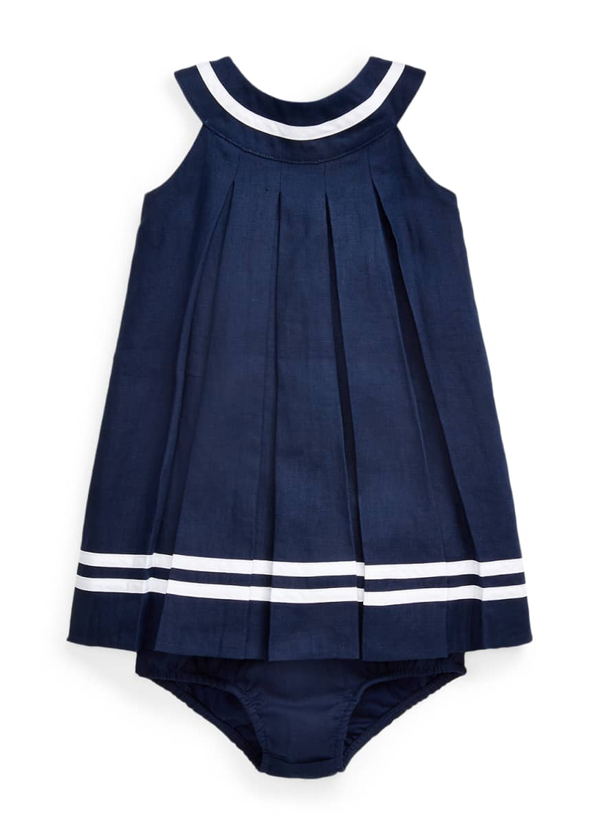 Ralph Lauren Childrenswear Linen Pleated Dress w/ Bloomers, Size 6-24 Months