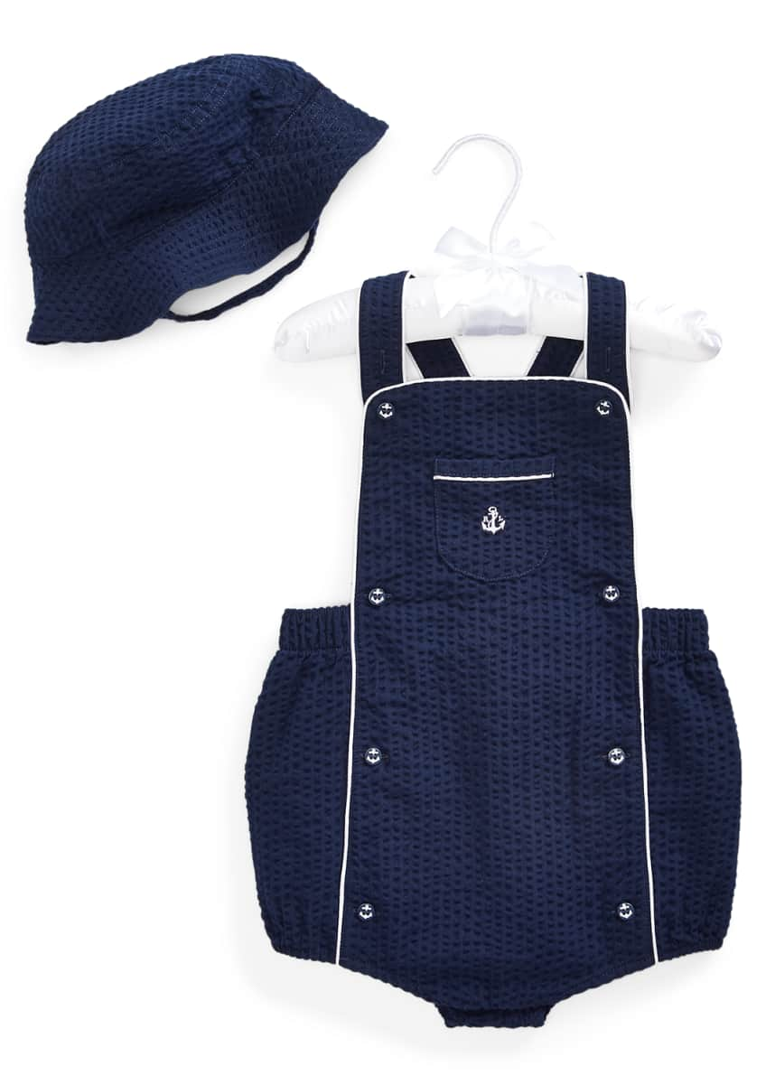 Ralph Lauren Childrenswear Boy's Seersucker Shortall w/ Matching Hat, Size 3-18 Months