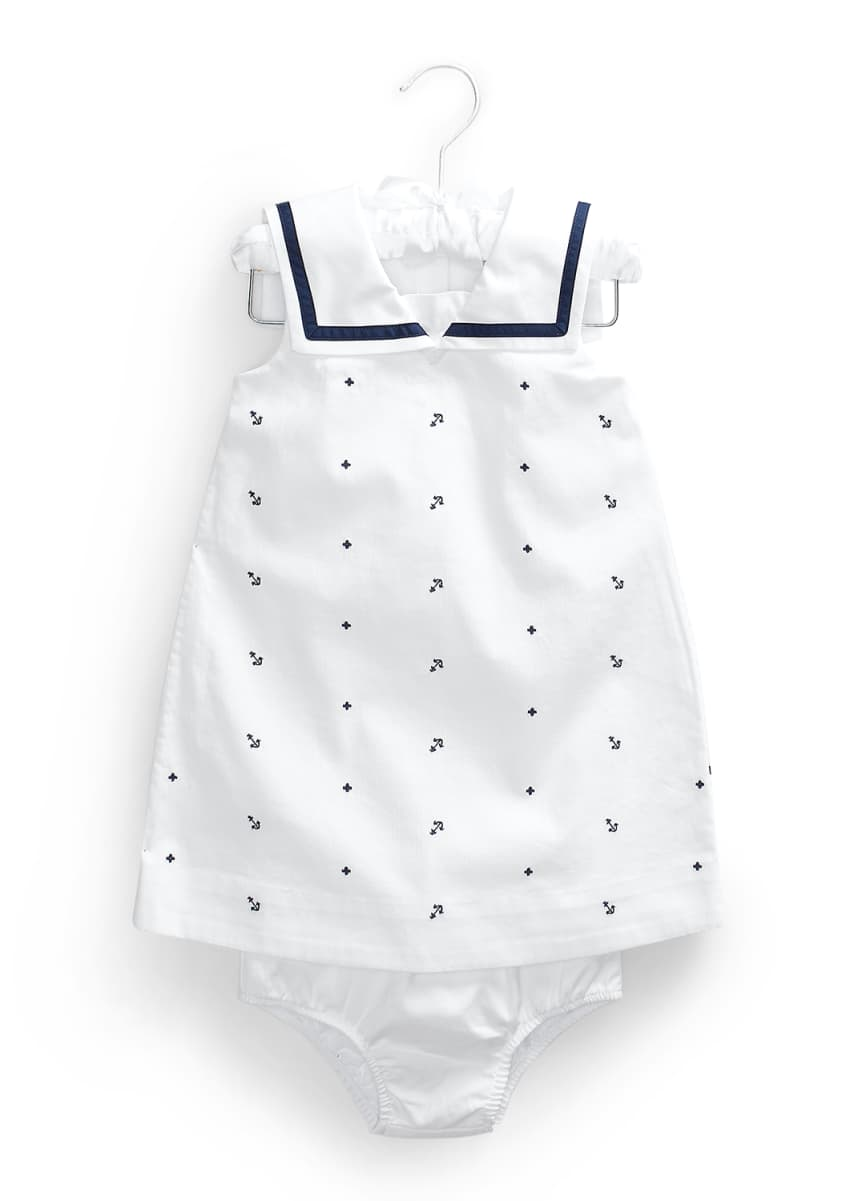 Ralph Lauren Childrenswear Girl's Nautical Bedford Corduroy Dress w/ Solid Bloomers, Size 9-24 Months