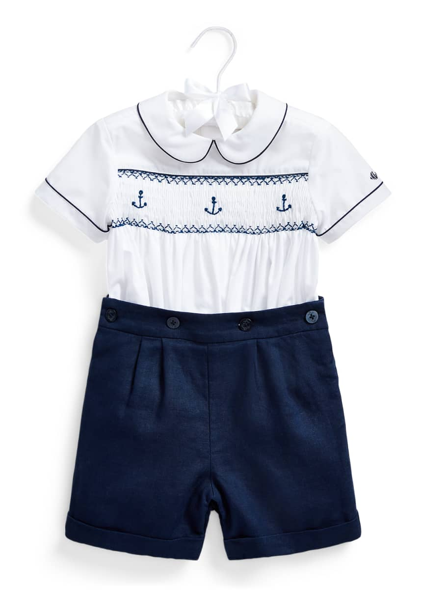 Ralph Lauren Childrenswear Smocked Anchors Shirt w/ Linen Shorts, Size 9-24 Months