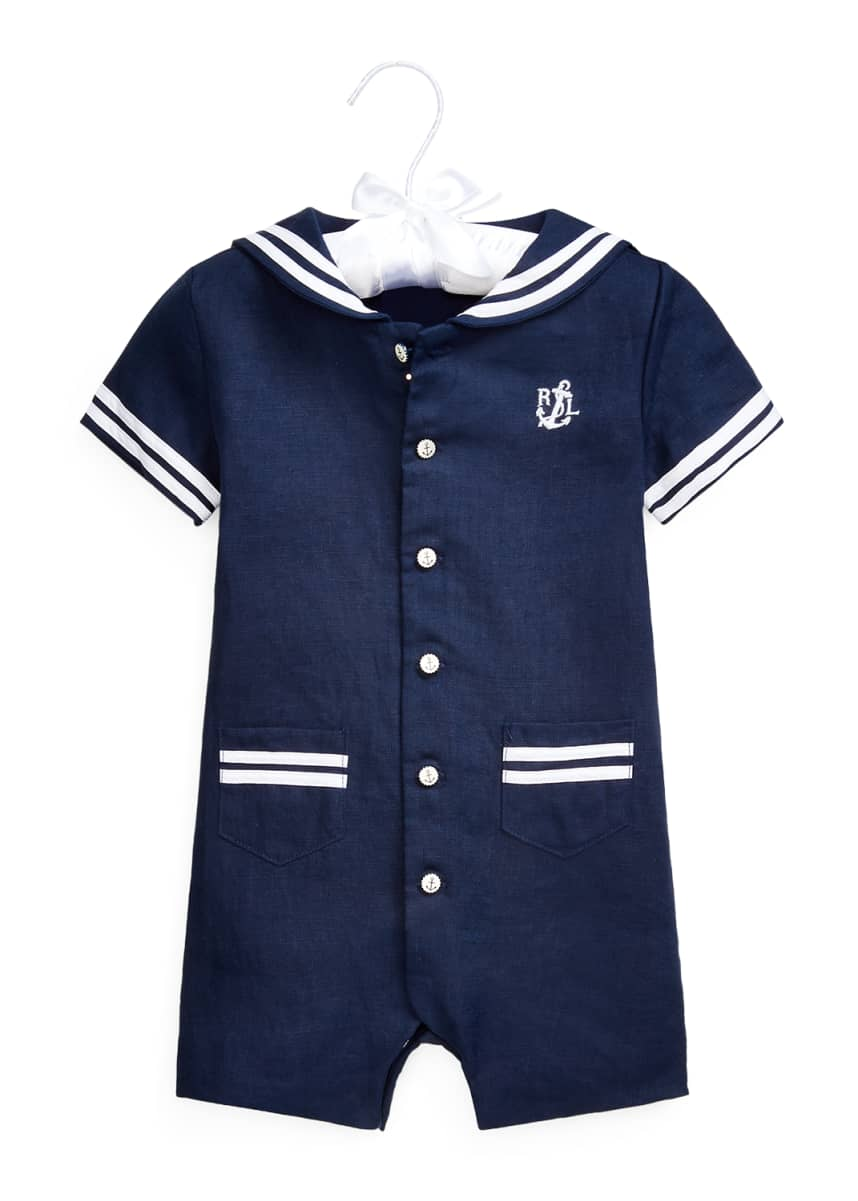 Ralph Lauren Childrenswear Sailor Linen Shortall, Size 3-18 Months