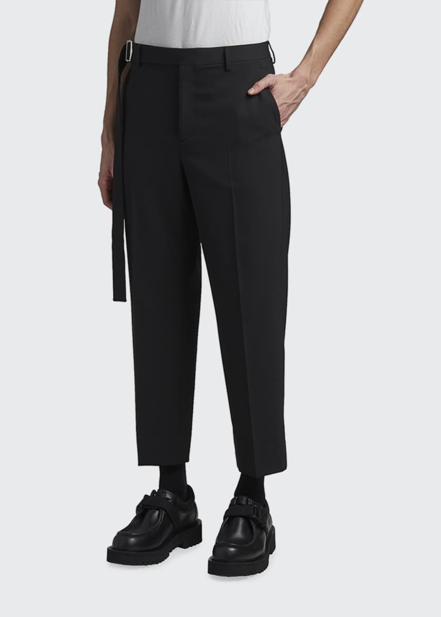 Valentino Men's Cropped Trousers w/ Long Self Belt