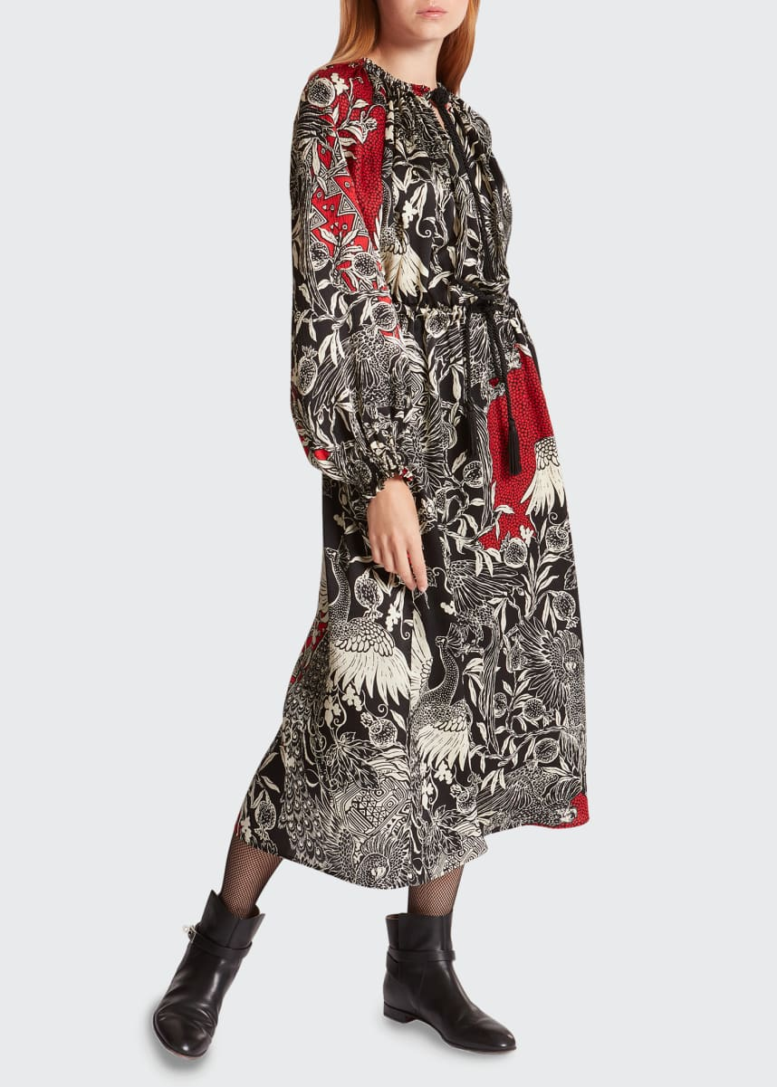 F.R.S For Restless Sleepers Mixed-Print Silk Long-Sleeve Midi Dress