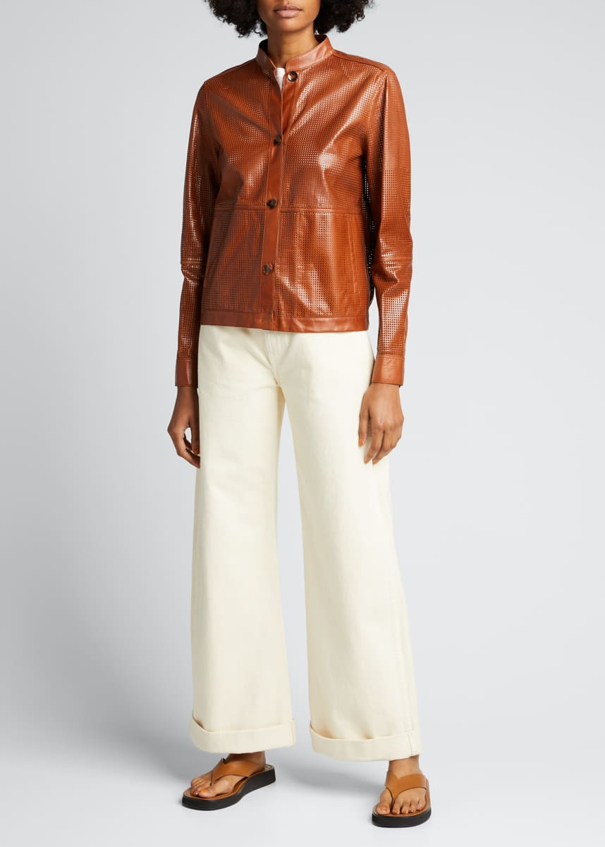 Lafayette 148 New York Becker Perforated Lacquered Lambskin Bomber Jacket