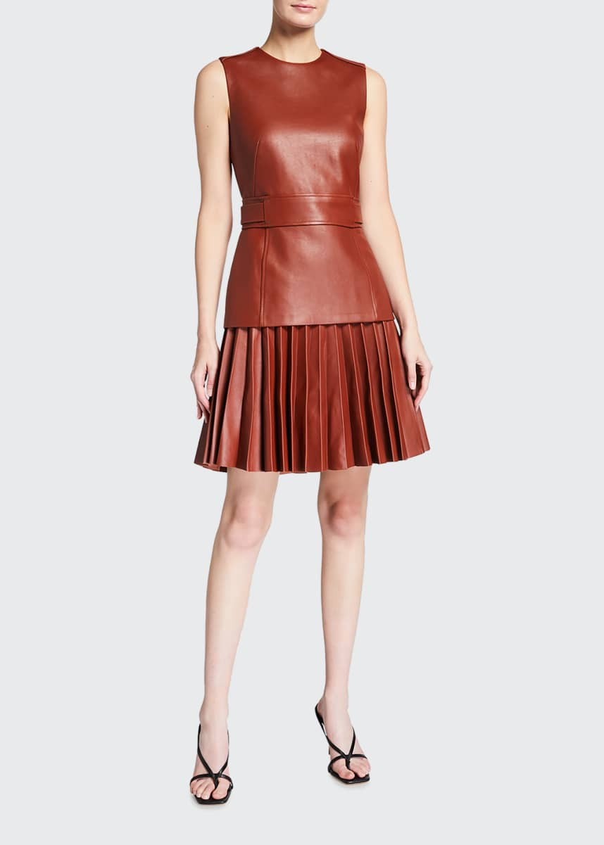Oscar de la Renta Leather Pleated Sleeveless Day Dress