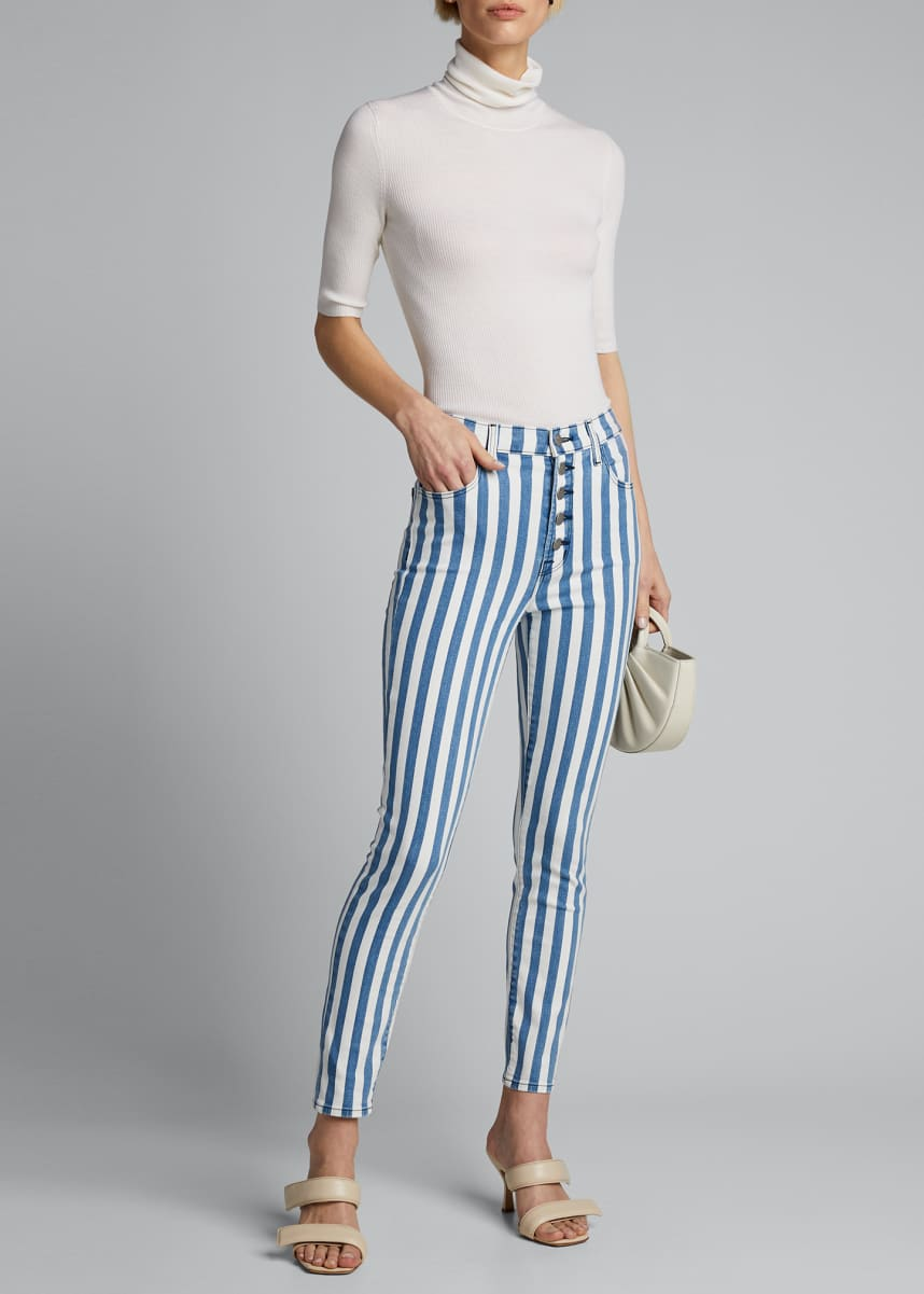 J Brand Lillie Striped High Rise Skinny Cropped Jeans