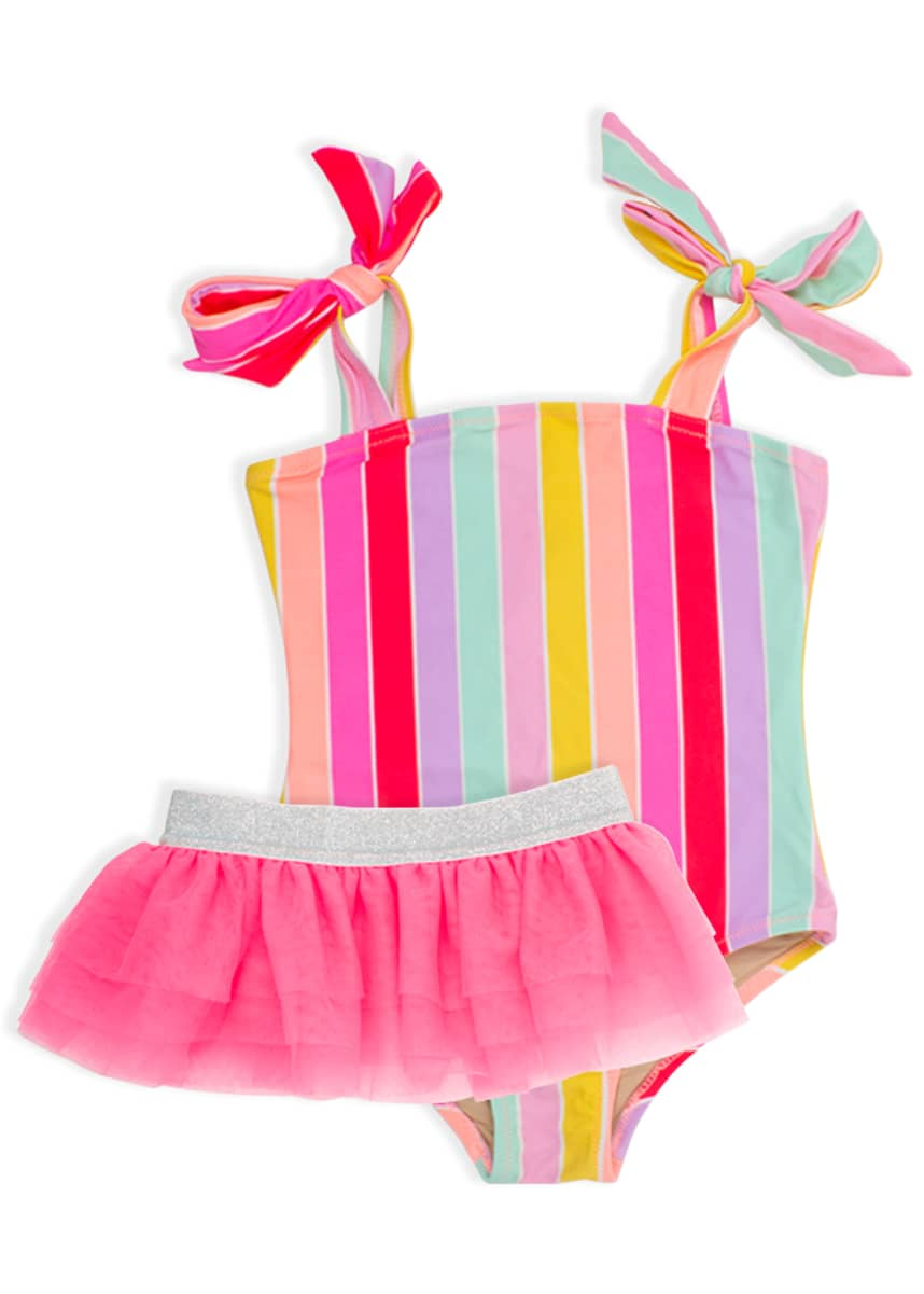 Shade Critters Girl's Rainbow Stripe One-Piece Swimsuit w/ Tutu, Size 2-6
