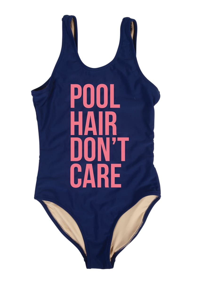 Shade Critters Girl's Pool Hair Don't Care One-Piece Swimsuit, Size 7-14