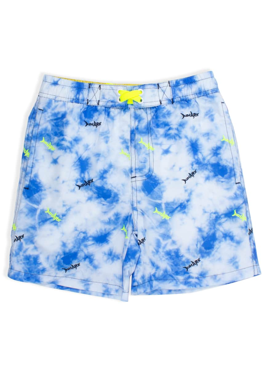 Shade Critters Boy's Tie-Dye Shark Swim Trunks, Size 2-6