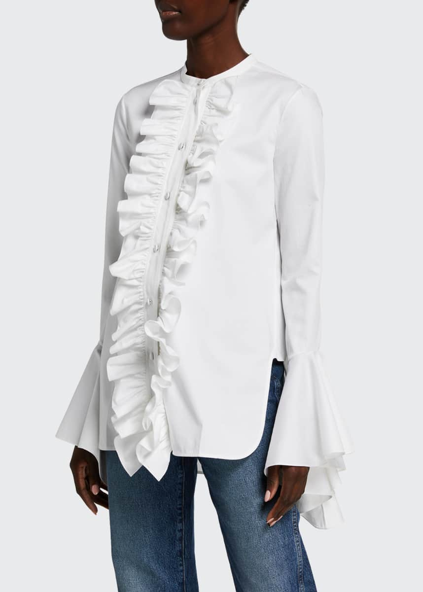 Khaite Keith Frilly Bell-Sleeve Poplin Shirt