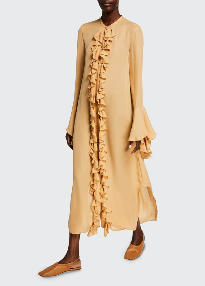 Khaite Callen Frilly Silk Georgette Shirtdress