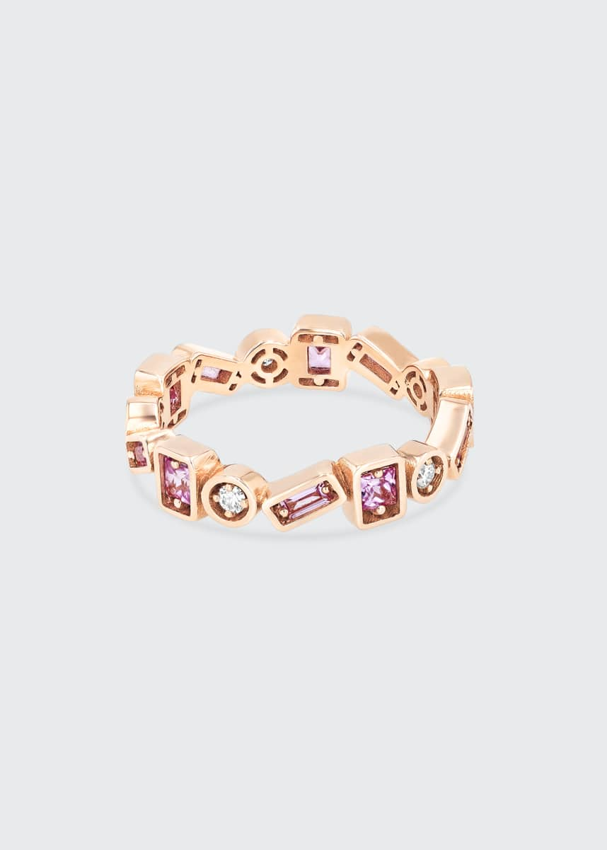 Suzanne Kalan 18K Rose Gold Inlay Pink Sapphire Thin Band Ring, Size 6.5