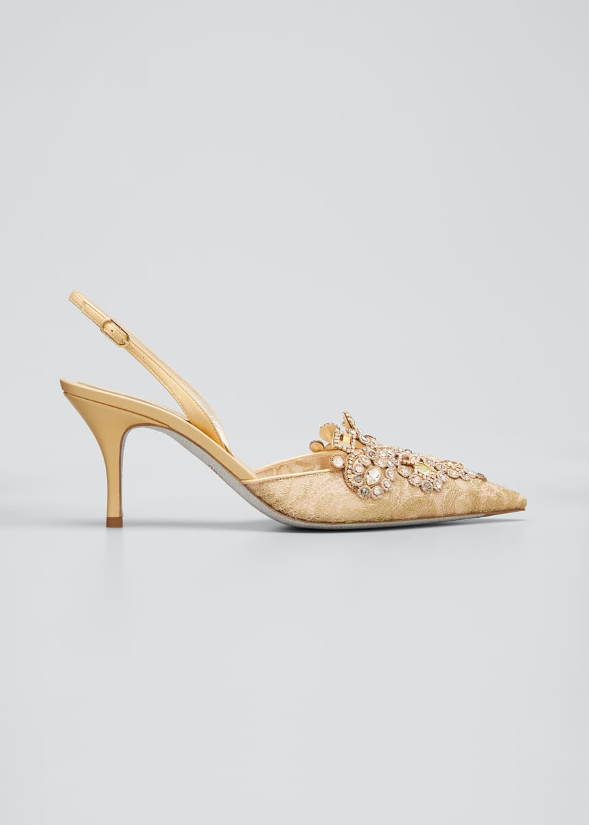 Rene Caovilla Veneziana Embroidered Lace Mid-Heel Pumps