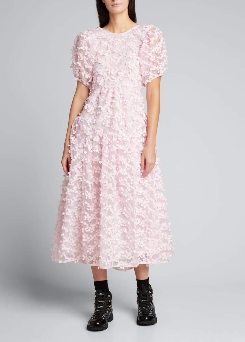 Cecilie Bahnsen Puff-Sleeve Floral Applique Open-Back Dress