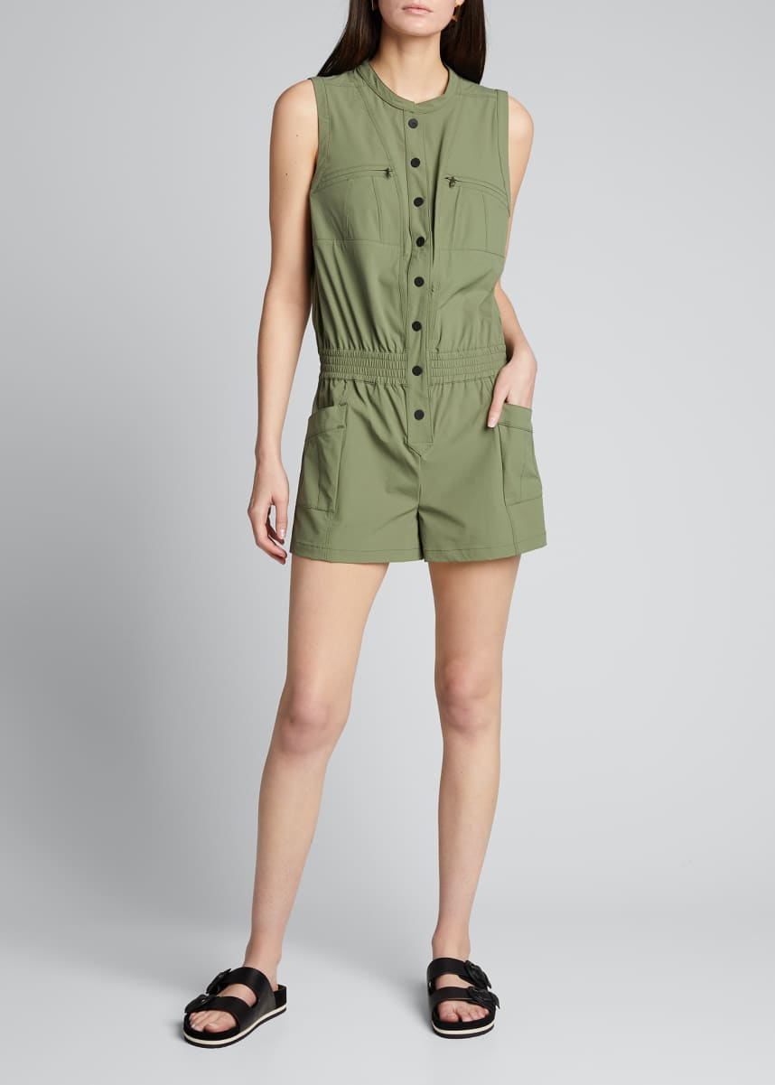 Blanc Noir Caravan Short-Sleeve Button-Up Romper