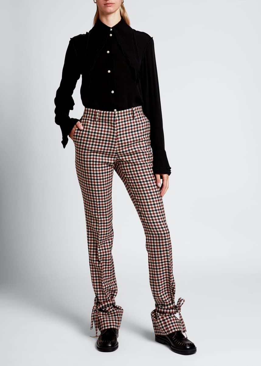 JW Anderson Checked Tie-Hem Trousers