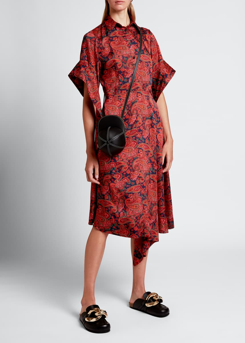 JW Anderson Paisley Draped-Sleeve Shirtdress