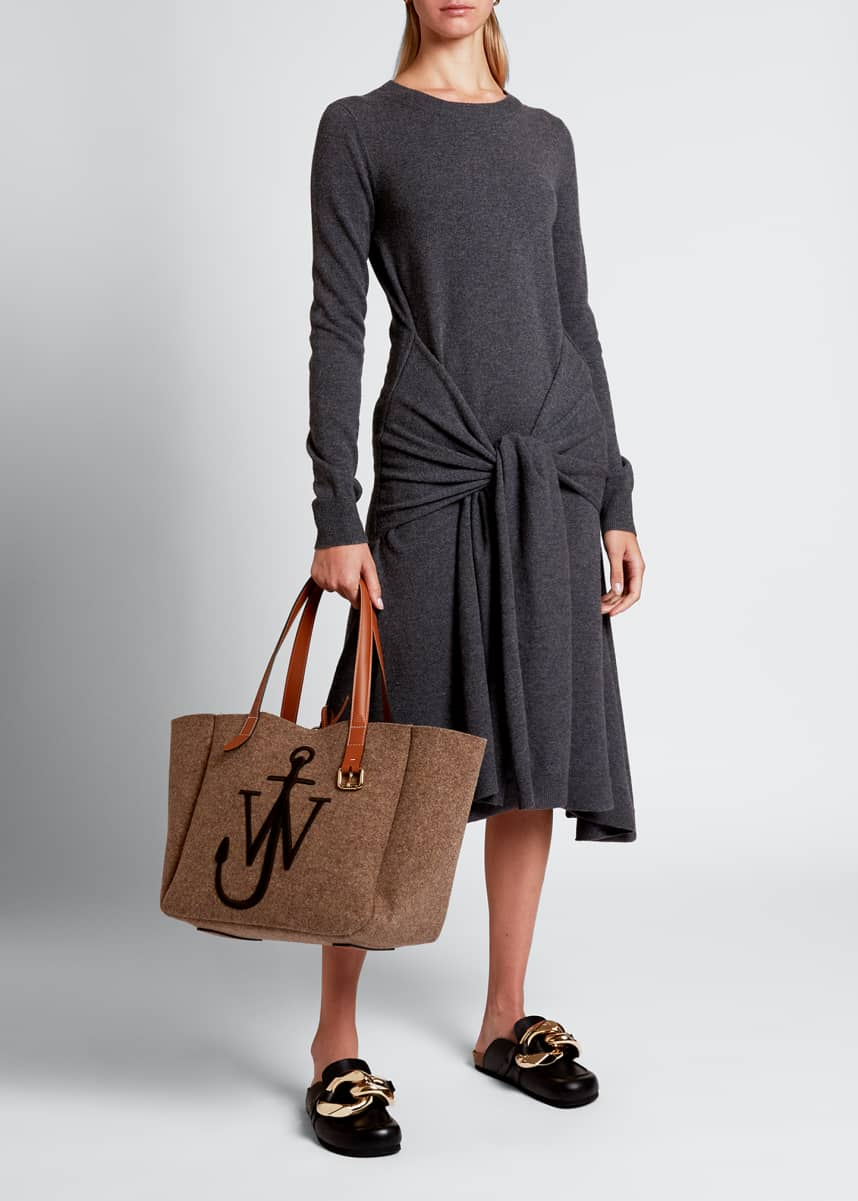 JW Anderson Wool Crewneck Waist-Tie Dress