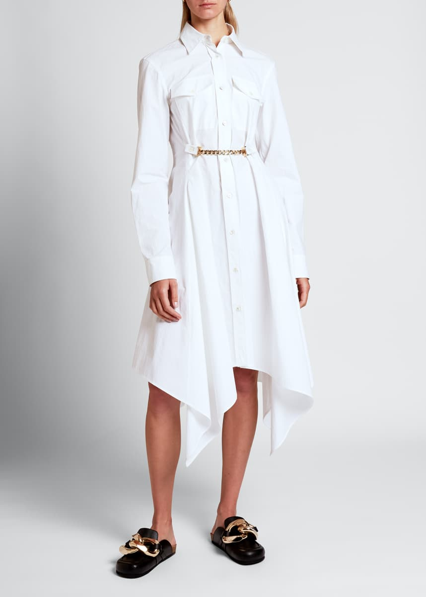 JW Anderson Poplin Chained-Waist Handkerchief Shirtdress