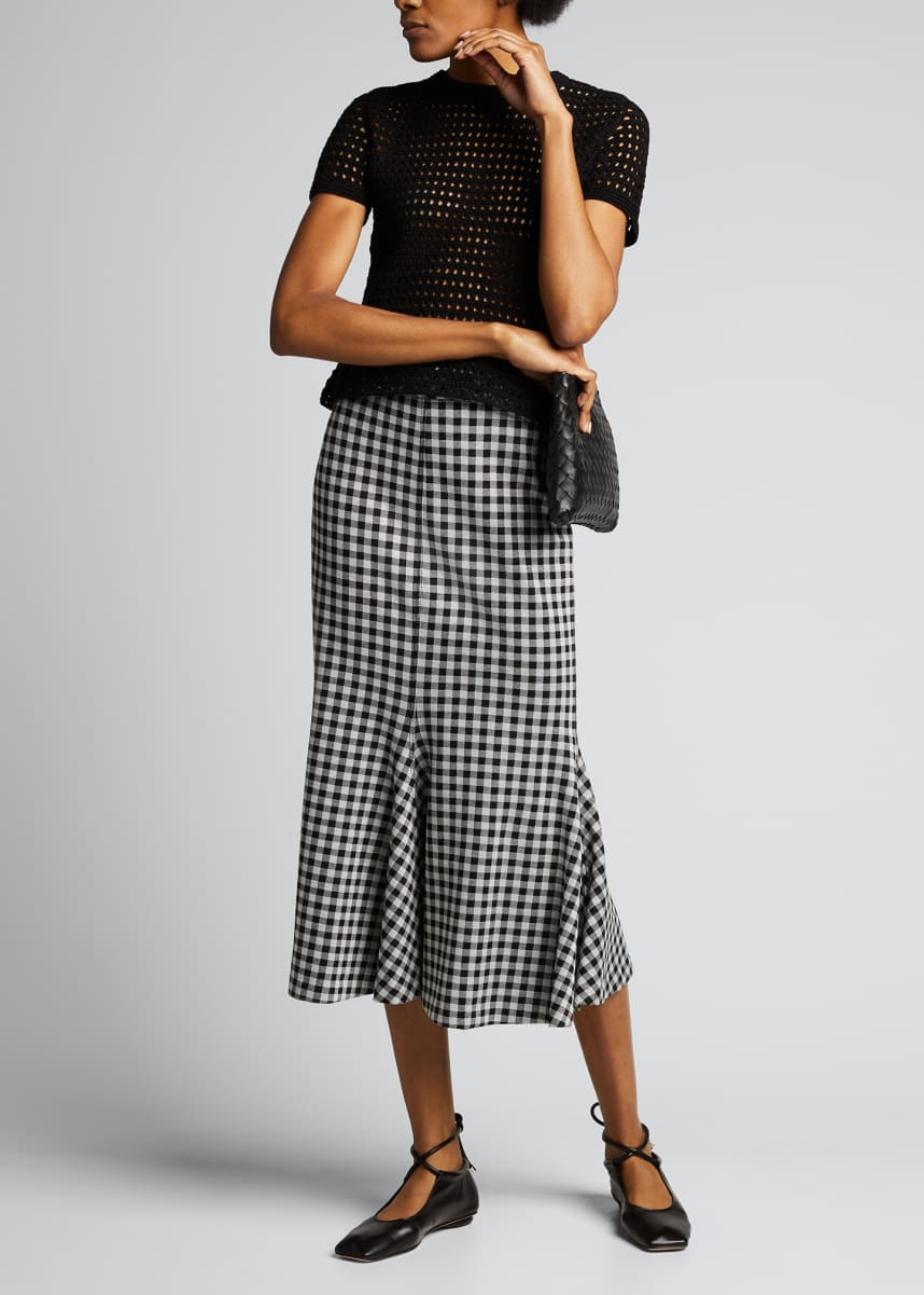 Rosetta Getty Gingham Fluted Godet Skirt