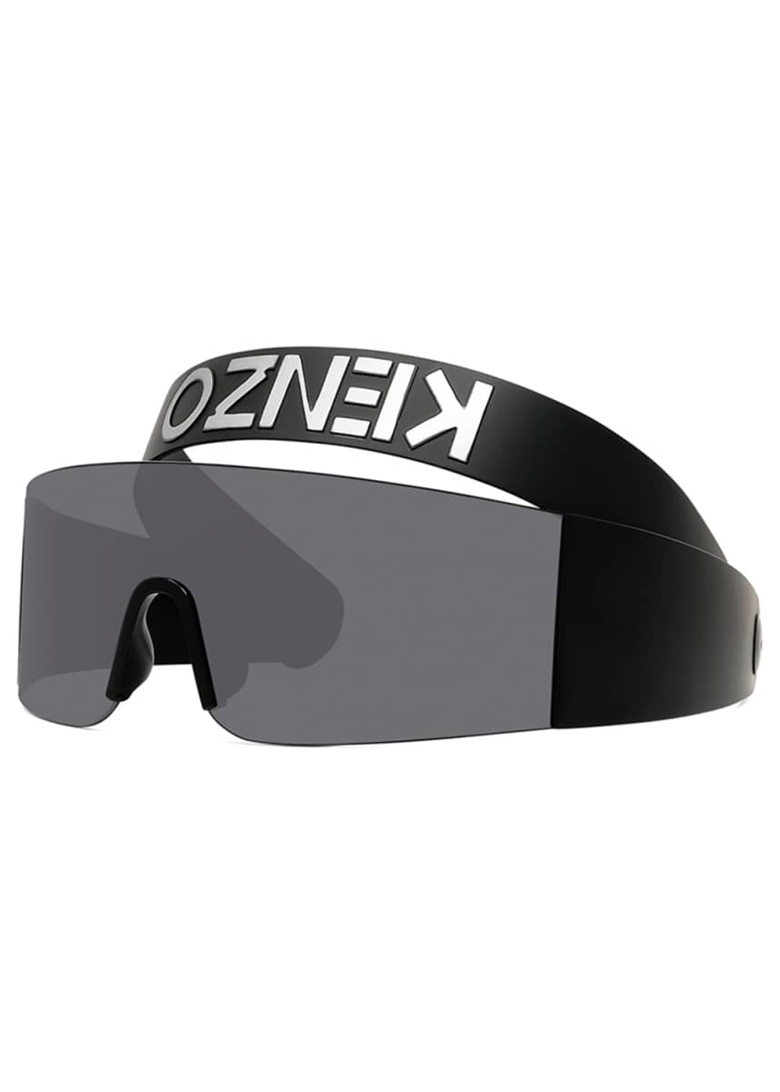 Kenzo Men's Shield Sunglasses w/ Logo Head Strap