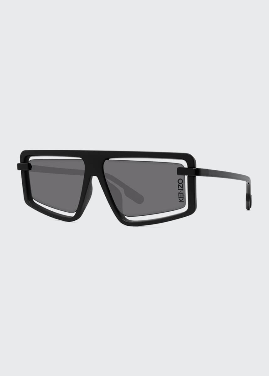 Kenzo Men's Cutout Rectangle Acetate Sunglasses