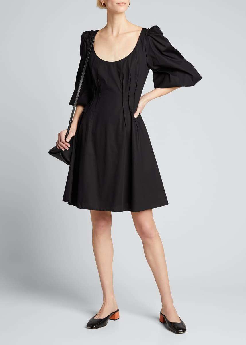 Brock Collection Cotton Puff-Sleeve Scoop-Neck Dress