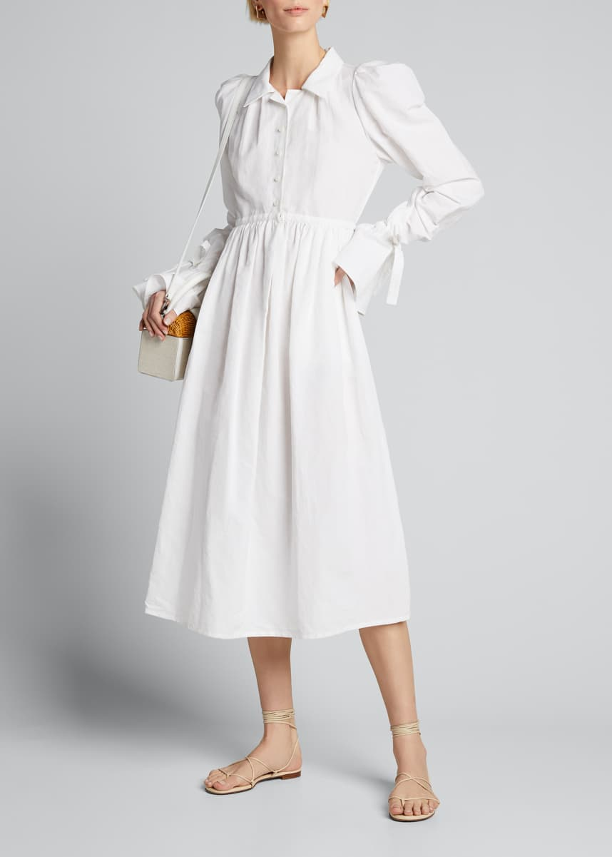 Brock Collection Poplin Tie-Cuff A-Line Shirtdress