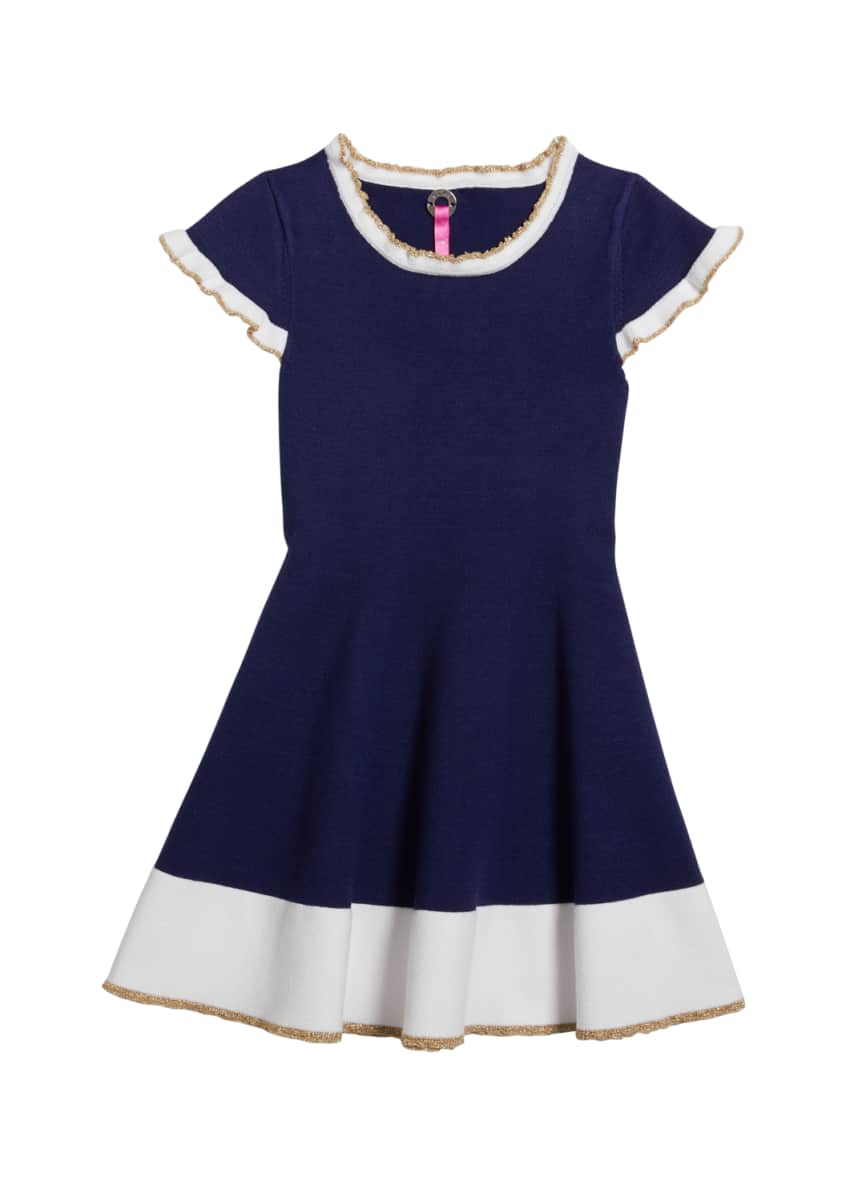 Pink Thread Girl's Colorblock Cap-Sleeve Ruffle-Edge Swing Dress, Size 6X-16