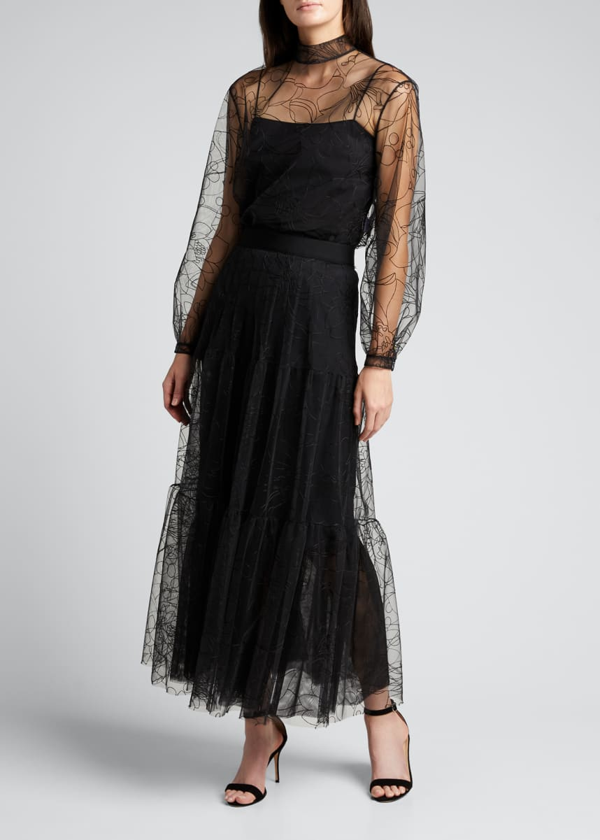 Akris punto Embroidered Floral Tulle Woven Midi Skirt