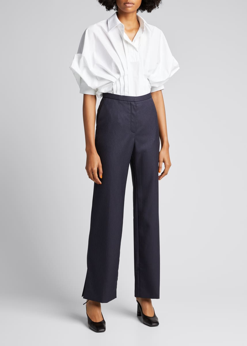 Nina Ricci Pleated Raglan-Sleeve Collar Shirt