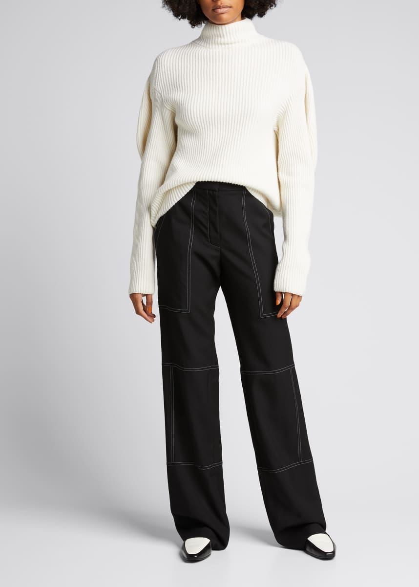 Nina Ricci Wide-Leg Wool Pants with Contrast Stitching