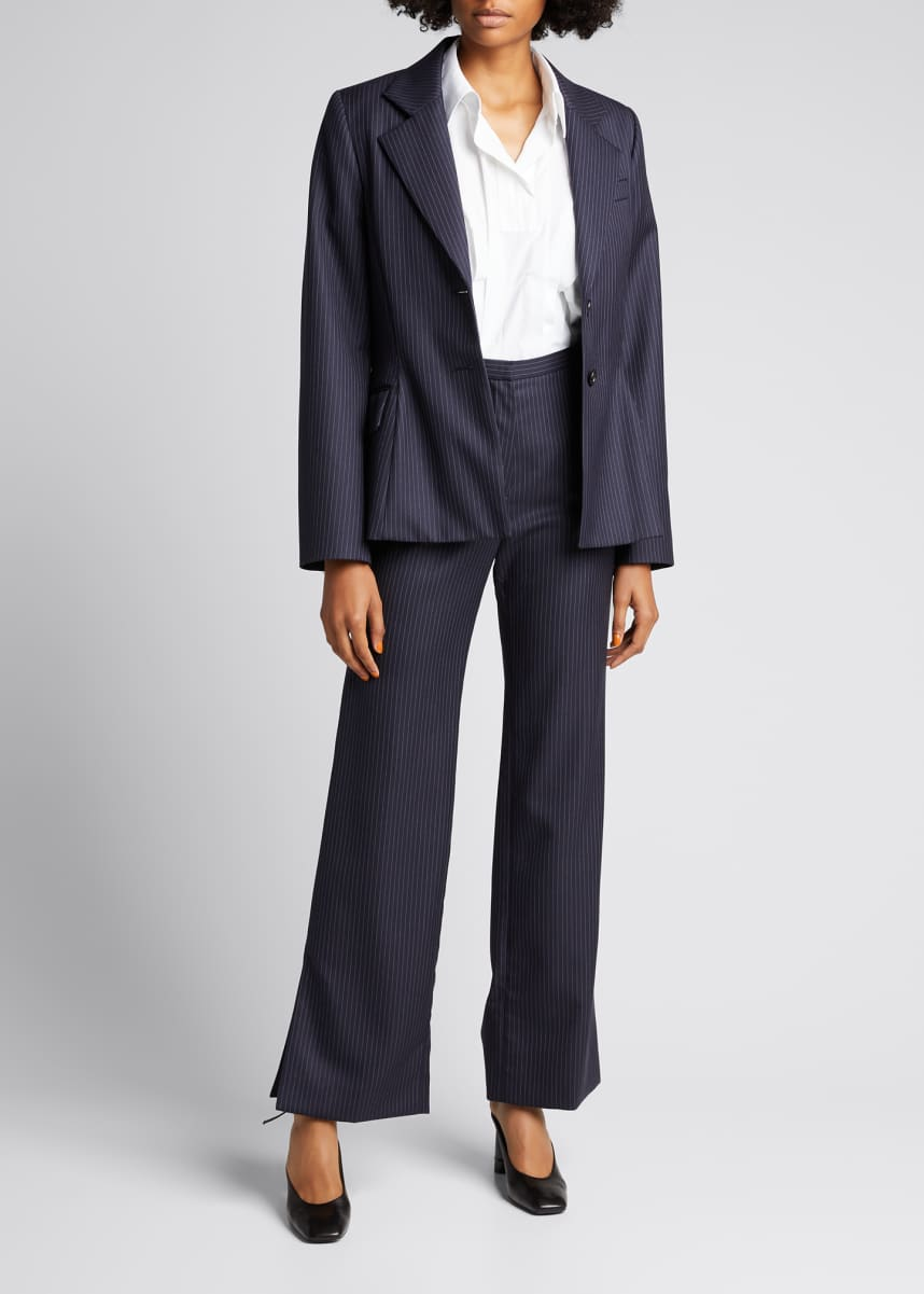 Nina Ricci Pinstripe Flared Wool Trousers
