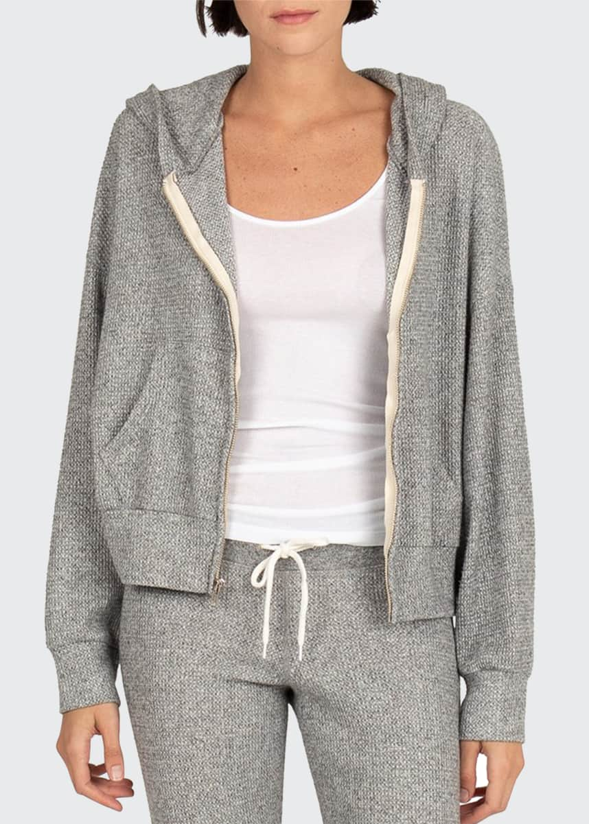 Monrow Brushed Thermal Boxy Zip-Front Hoodie