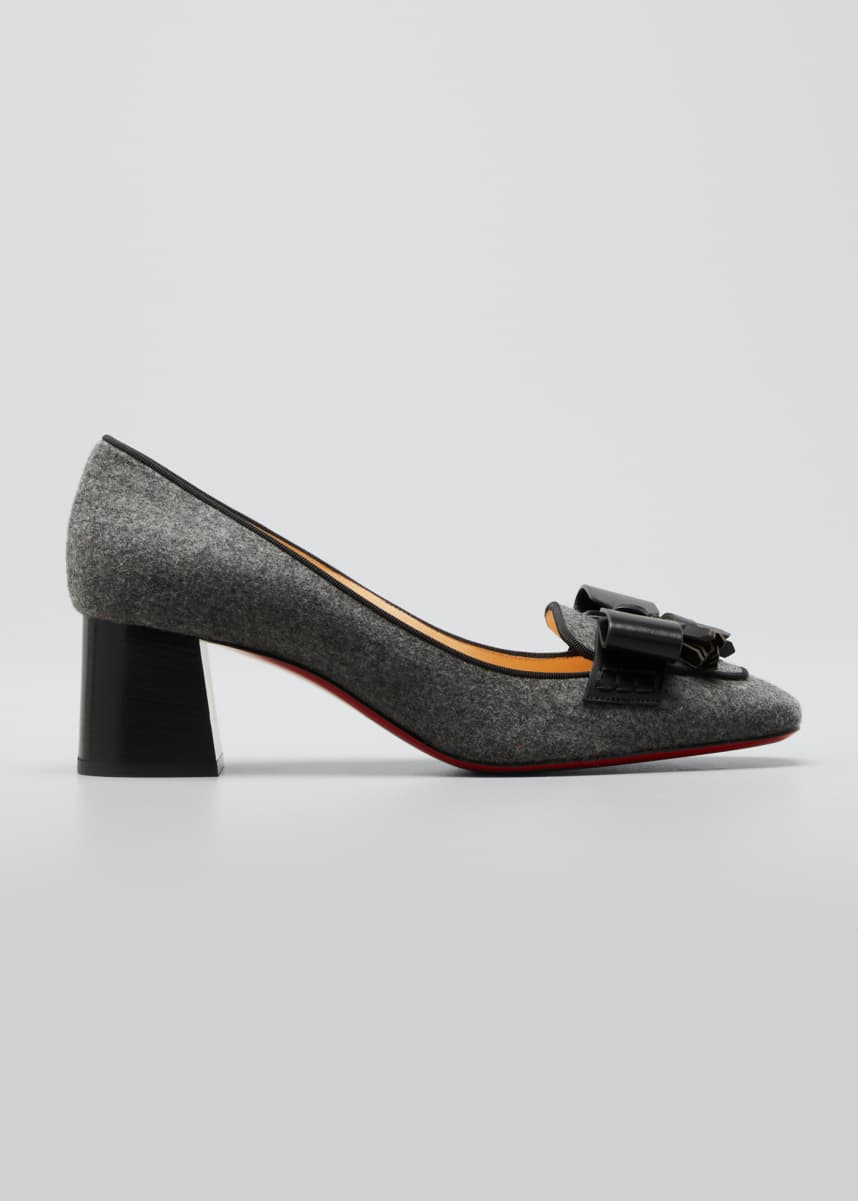 Christian Louboutin Carmela Wool Bow Red Sole Loafer Pumps