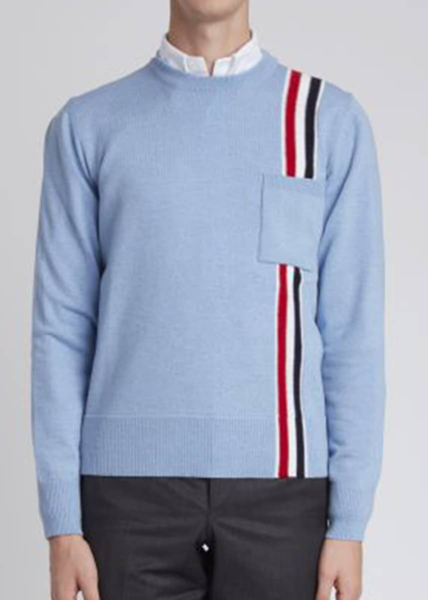 Thom Browne Men's Light Blue Merino Wool RWB Intarsia Vertical Stripe Pocket Sweater