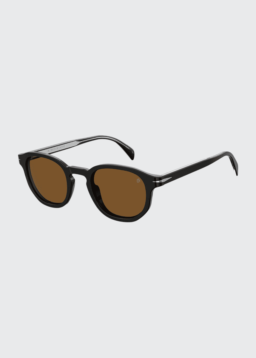 David Beckham Men's Round Acetate Sunglasses w/ Metal Detail